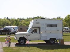An adorable little truck camper combo. I just love this! If I had the room I swear I'd probably have a fleet of vintage trailers, campers, motor homes, etc., I'd likely end up on the show Hoarders but I wouldn't care.