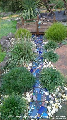 Mosaic river using pavers by Helen McNab. Mosaic river using pavers by Helen McNab. Gravel Garden, Garden Paths, Mosaic Diy, Mosaic Garden Art, Garden Projects, Diy Projects, Dream Garden, Garden Inspiration, Backyard Landscaping