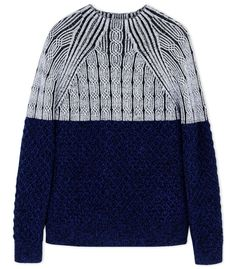 Proenza Schouler Navy Color-Block Wool Turtleneck Sweater