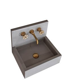 Model Two, natural solid concrete basin from Aston Matthews with Acme scuffed brass tap