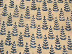 Hand block Printed Leaf Print Soft Cotton Fabric Remnant - other great stuff here