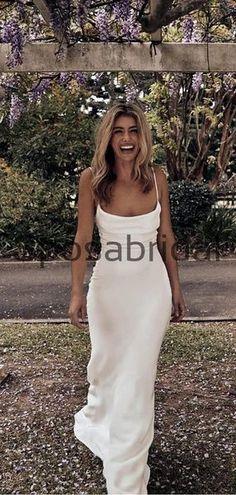 Charming Spaghetti Straps Simple Modest Beach Wedding Dresses WD0443#weddingdresses #weddingdress #bridalgown #weding #bridaldress #laceweddingdress #fashion #Ballgown #Country #boho #Princess #modest Long Wedding Dresses, Bridal Dresses, Wedding Gowns, Prom Dresses, Formal Dresses, How To Make Shoes, Dress Backs, Dream Dress, Spaghetti Straps