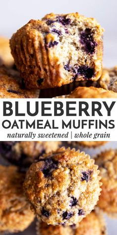 Blueberry Oatmeal Muffins are an easy breakfast or snack to stash in the freezer. They are made with 100% whole grains and sweetened with honey – a quick, easy and nutritious recipe that's perfect for meal prep! | #muffins #baking #healthyfood #healthyrecipe #healthycooking #healthybaking #healthyeating #refinedsugarfree #wholegrain #breakfast #recipe #easyrecipes