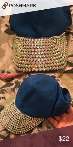 1245d28467ac Sparkly Hat Beautiful royal blue bejeweled baseball cap. This would be good  to add things