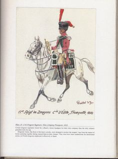 Dragoons: Plate 19: 17th Dragoon Regiment, Elite Company Trumpeter, 1810.