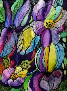 Wild Garden V by zzen on DeviantArt Abstract Flowers, Abstract Watercolor, Watercolor And Ink, Watercolor Flowers, Watercolor Paintings, Butterfly Art, Flower Art, Tangle Art, Nature Artwork