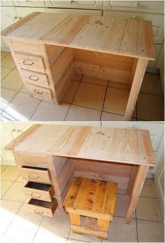 In most of the wood pallet office tables you would view the flavor of the amazing table design as the involvement of the stool pairing as well. At one side of the table you will view the portion of the drawers that is in vertical positioning giving out the impact of chest of drawers.