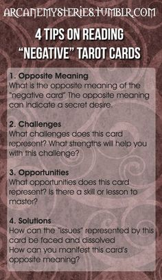 "Tarot Tips http://arcanemysteries.tumblr.com/ Four Tips On Reading ""Negative"" Tarot Cards. #tarotcardstips"