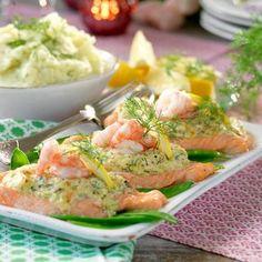 Easter Recipes, Easter Food, Salmon Dishes, Fish And Seafood, Salmon Recipes, Chutney, Hummus, Potato Salad, Bacon