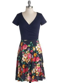 Botanical Breakfast Dress in Navy Blossoms - Knit, Blue, Multi, Floral, Ruching, Casual, A-line, Good, V Neck, Short Sleeves, Mid-length