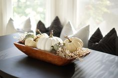 White Pumpkins in a Rustic Wooden Dough Bowl Fall Centerpiece White Pumpkins in a Rustic Wooden Dough Bowl Fall Centerpiece ideas Pumpkin Centerpieces, Centerpiece Ideas, Table Decorations, Fall Home Decor, Autumn Home, Holiday Decor, Natural Fall Decor, Pumpkin Pictures, Fall Living Room