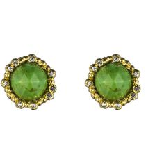 Alexis Bittar Cordova Gold Mojave Turquoise Round Stud Post Earring ($95) ❤ liked on Polyvore