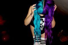 hair, hair color, multi-colored hair, teal, teal hair, purple, purple hair