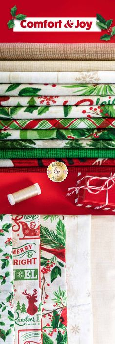 Comfort & Joy is a beautiful Christmas collection by Timeless Treasures Fabrics. Get this festive fabric by the yard for your next Christmas quilt.