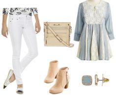 White pants, light blue shirt, neutral ankle boots, light blue earrings