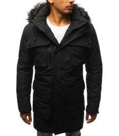 Čierna pánska zimná párka bunda Parka, Raincoat, Jackets, Fashion, Rain Jacket, Down Jackets, Moda, Fashion Styles, Parkas