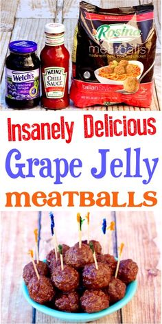 Grape Jelly Meatballs Crockpot Recipes! Party food appetizers snacks ideas are easy bite size game day apps! Game Day Appetizers, Appetizer Recipes, Vegetarian Appetizers, Christmas Appetizers, Dinner Recipes, Muesli, Jelly Meatballs Crockpot, Meatballs With Grape Jelly, Tofu