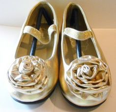 gold flower girl shoes  Amour Girls Gold Flower Slip On Dress ...
