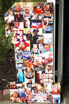 First Birthday decoration idea!  Photo collage from their first year using a cardboard box.  So easy and fun!