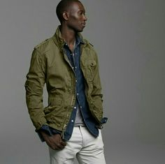 Mens Fall Fashion 2011 Military Inspired Jacket Coat J Crew (for Matt) Military Jacket Outfits, Military Style Jackets, Mode Masculine, Military Fashion, Mens Fashion, Fall Fashion, J Crew Outfits, Safari Jacket, Herren Outfit