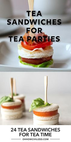 Tea Party Desserts, Snacks Für Party, Tea Party Menu, Food For Tea Party, Brunch Party Foods, Fall Party Foods, High Tea Food, Tea Time Snacks, Canapes Recipes