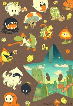mario enemies cute illustration allies power star landscape retro vintage. $25.00, via Etsy.- awesome