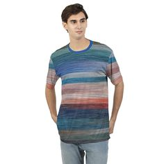 Men's T Shirt With Colorfull Abstract Stripes Mens Tees, Crew Neck, Dress Up, Stripes, Fitness, Fabric, T Shirt, How To Wear, Collection