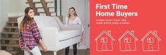 A template for first-time buyers. A background image of two girls moving furniture with a red textbox displaying 'first time home buyers'.
