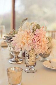 mercury glass centerpieces for wedding receptions | Centerpiece Options - Light Blue/Purple Wedding