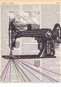 Vintage Sewing Machine Antique Book Page Print
