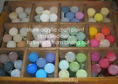 Store your craft paint upside to keep it from drying out and for easy IDing. Pop it in a vintage soda crate for instant storage. Via Clean Mama