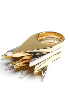 #noir - women's 4 ring set flat spike rings (clear/silver/gold)