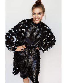 Sequinned Coat // 119.00 USD // Zara // Open knit coat with contrasting macro sequins. Features a round neckline, long sleeves and concealed snap button fastening in the front. HEIGHT OF MODEL: 179 cm. / 5′ 10″