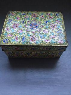CLOISSONNE Chinese Enamel YELLOW  Floral Antique Box  | eBay