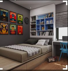Boy's bedroom. Modern and compact.