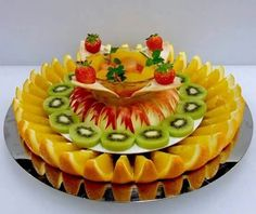 bf - Fruits-N- Vegetables carving - Fruit Buffet, Fruit Dishes, Unique Recipes, Raw Food Recipes, Fruit Presentation, Fruit Creations, Fruit And Vegetable Carving, Food Garnishes, Food Platters