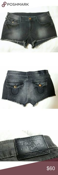 True Religion Jean Shorts NWOT Grey/Black denim shorts, color in pic is accurate.  Fringed Bottom with metal studded detail, distressed look.  98% cotton 2% spandex.  Style #W43 A535 IB8 True Religion Shorts Jean Shorts