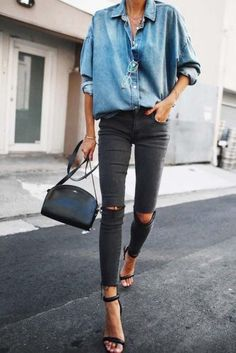 Casual chic chambray shirt with black heels, handbag and distressed denim jeans. Casual chic chambray shirt with black heels, handbag and distressed denim jeans. Mode Outfits, Fall Outfits, Casual Outfits, Late Summer Outfits, Heels Outfits, Halloween Outfits, Look Fashion, Winter Fashion, Womens Fashion