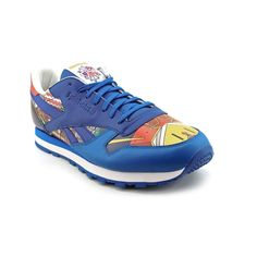 ba7a7355848397 Reebok Classic Mens Blue Leather Sneakers