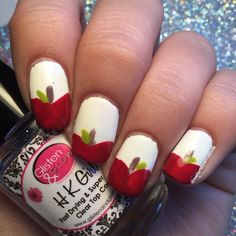 """61 Likes, 2 Comments - Annabelle ♡ (@nailartbyannabelle) on Instagram: """"Apple nails! 🍎 - - I can't eat caramel apples cause my braces :( - - polishes used!…"""""""
