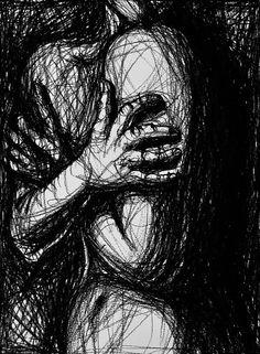 "Saatchi Online Artist: Alexandru Crisan; Charcoal, 2011, Drawing ""Anxiety"""