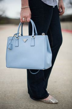 prada blue and white bag