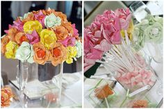 If you have ever found yourself decorating for a party being held at a restaurant, you might have struggled trying to decorate around the white linens. Candy Flowers, Paper Flowers, Candy Centerpieces, Table Decorations, Candy Themed Party, Fru Fru, Candy Bouquet, Baby Shower Parties, Event Planning