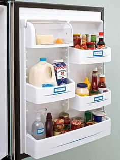Label the doors. | 27 Brilliant Hacks To Keep Your Fridge Clean And Organized