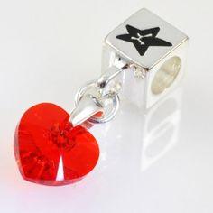 Charm with SWAROVSKI ELEMENTS crystal heart pendant Ruby Light Siam, silver version http://store.lovya.net/letters-from-your-heart-lovya/322-charm-wiszacy-z-krysztalem-swarovski-elements-serduszko-rubin-light-siam-wersja-srebrna.html