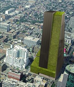 High-rise farming in the cities: food where you need it. Gordon Graff's, University of Waterloo in Ontario, 59-story Skyfarm concept. Image courtesy Gordon Graff, Vertical Farm Project
