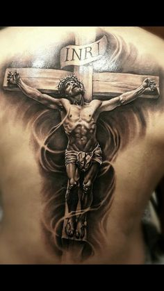 Black And Grey Religious Jesus On Wooden Cross Tattoo On Man Full