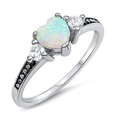 Amazon.com: Heart Lab Created Opal Cute Dainty Sterling Silver Ring Promise Anniversary Gift Idea Sizes 4-10: Jewelry