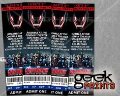 Avengers Age of Ultron Movie Birthday Party Ticket Invitation by GeekPrintsandGifts, $5