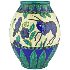 Charles Catteau Art Deco Ceramic vase gazelles & birds, Decor Kioto, 1924.   From a unique collection of antique and modern vases and vessels at https://www.1stdibs.com/furniture/decorative-objects/vases-vessels/